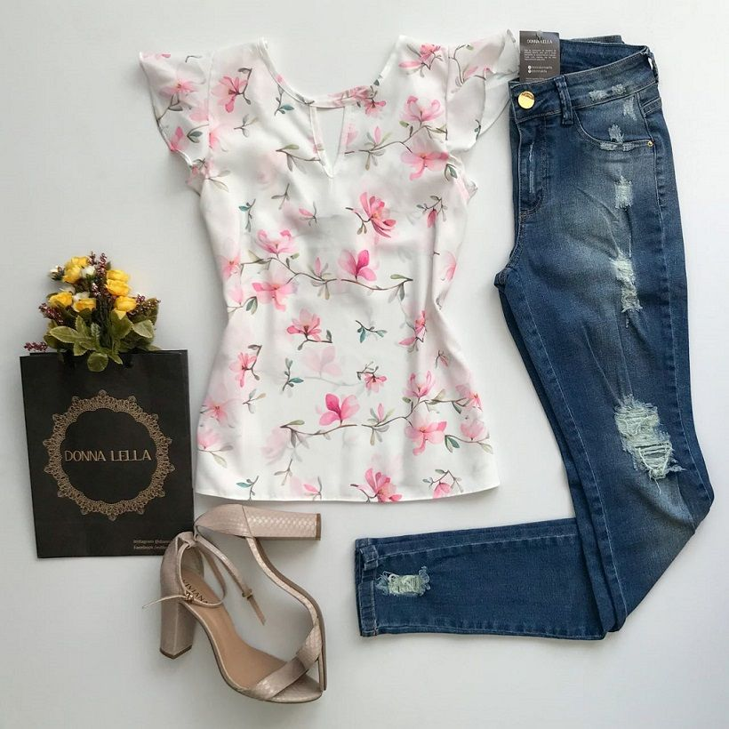 Blusa Crepe Floral Delicada