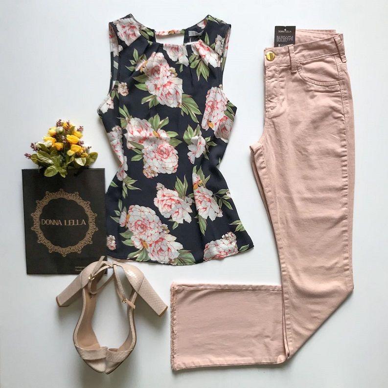 Blusa Crepe Floral Marinho