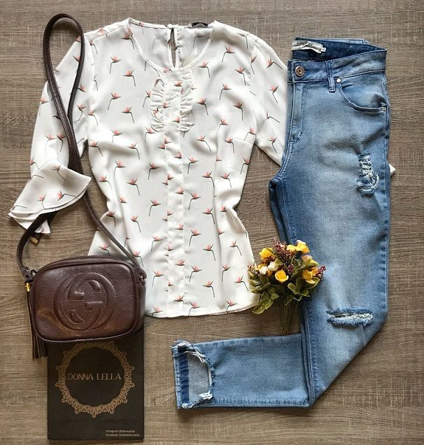 Blusa Crepe Floral Offwite