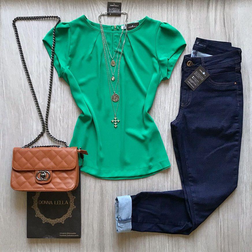 Blusa Crepe Gota Verde