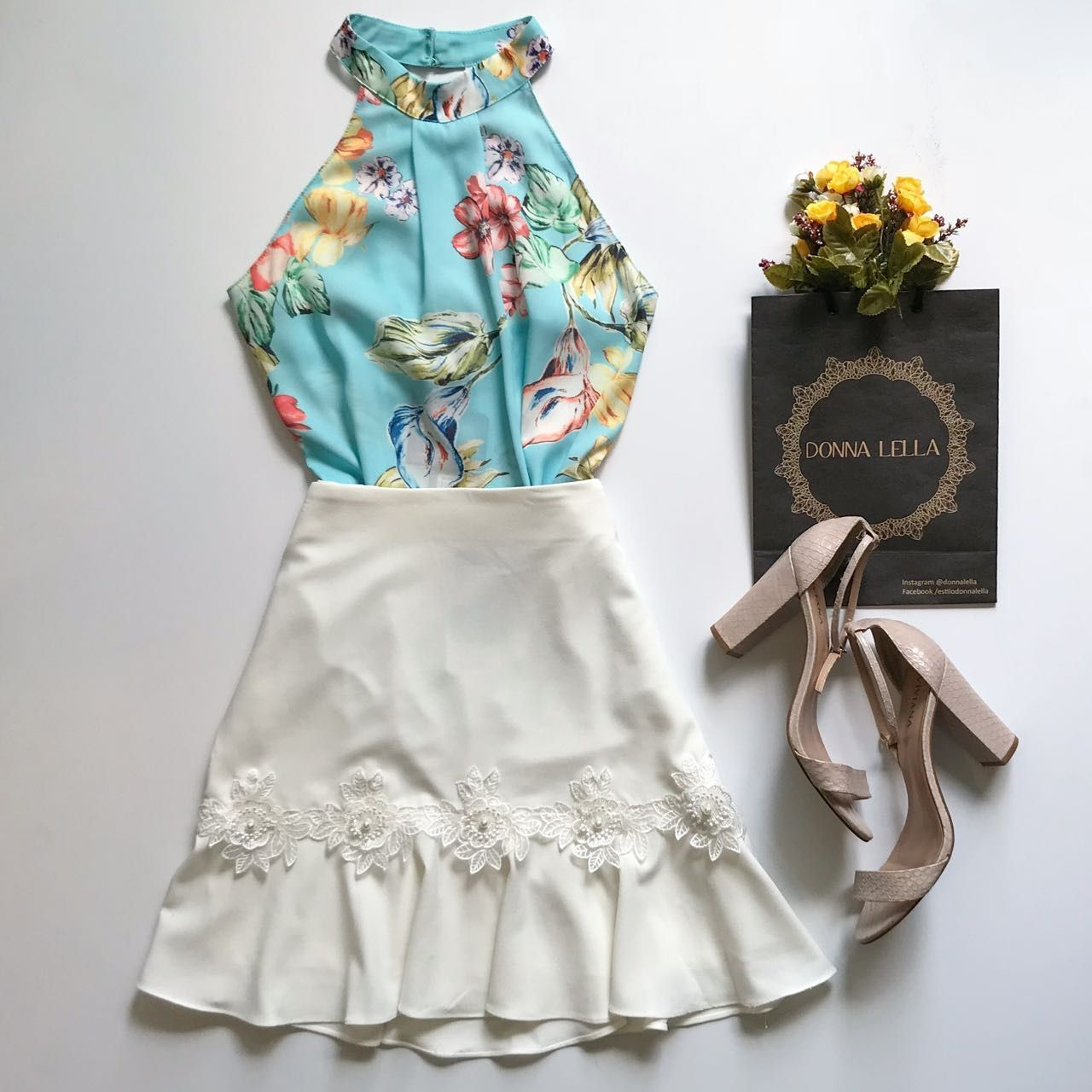 Blusa Floral Acqua
