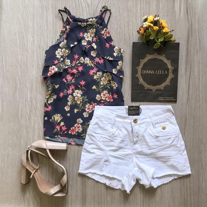Blusa Floral Alça Dupla