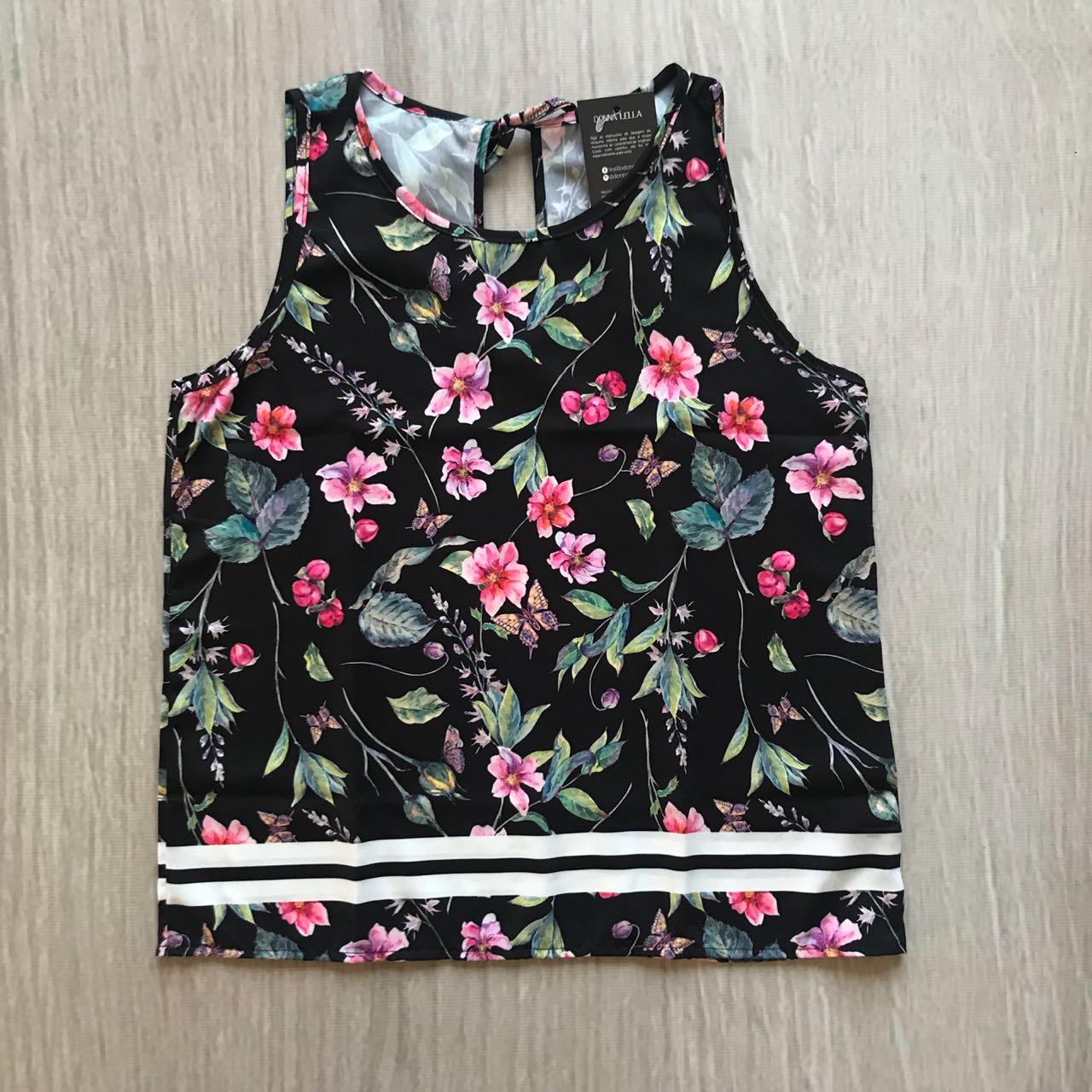 Blusa Floral Barrado Listras