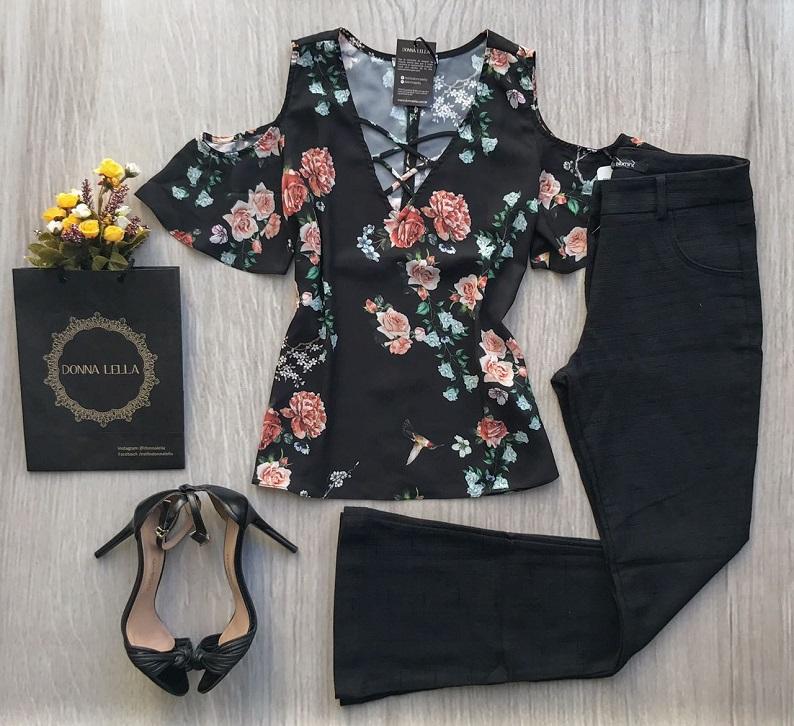 Blusa Floral Detalhe Decote Tiras