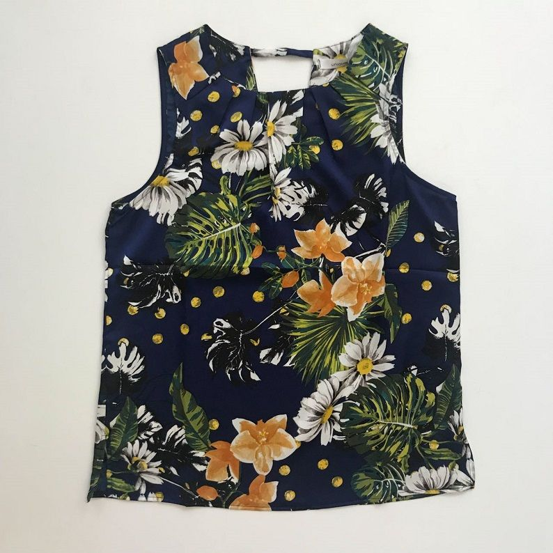Blusa Floral Marinho