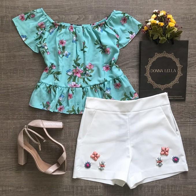 Blusa Floral Turquesa