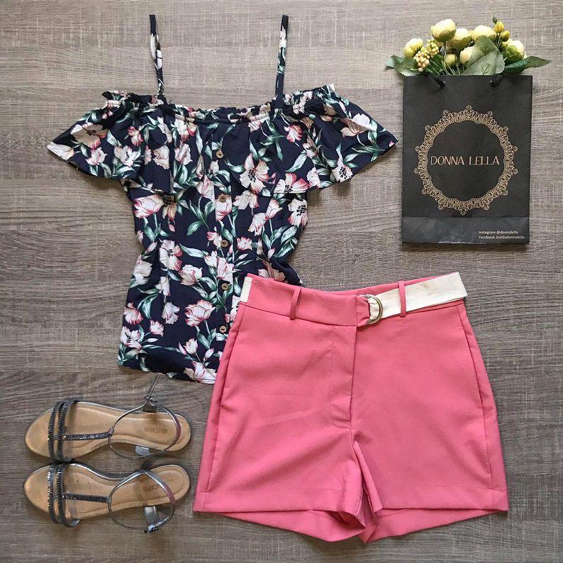 Blusa Offshoulder Floral Marinho
