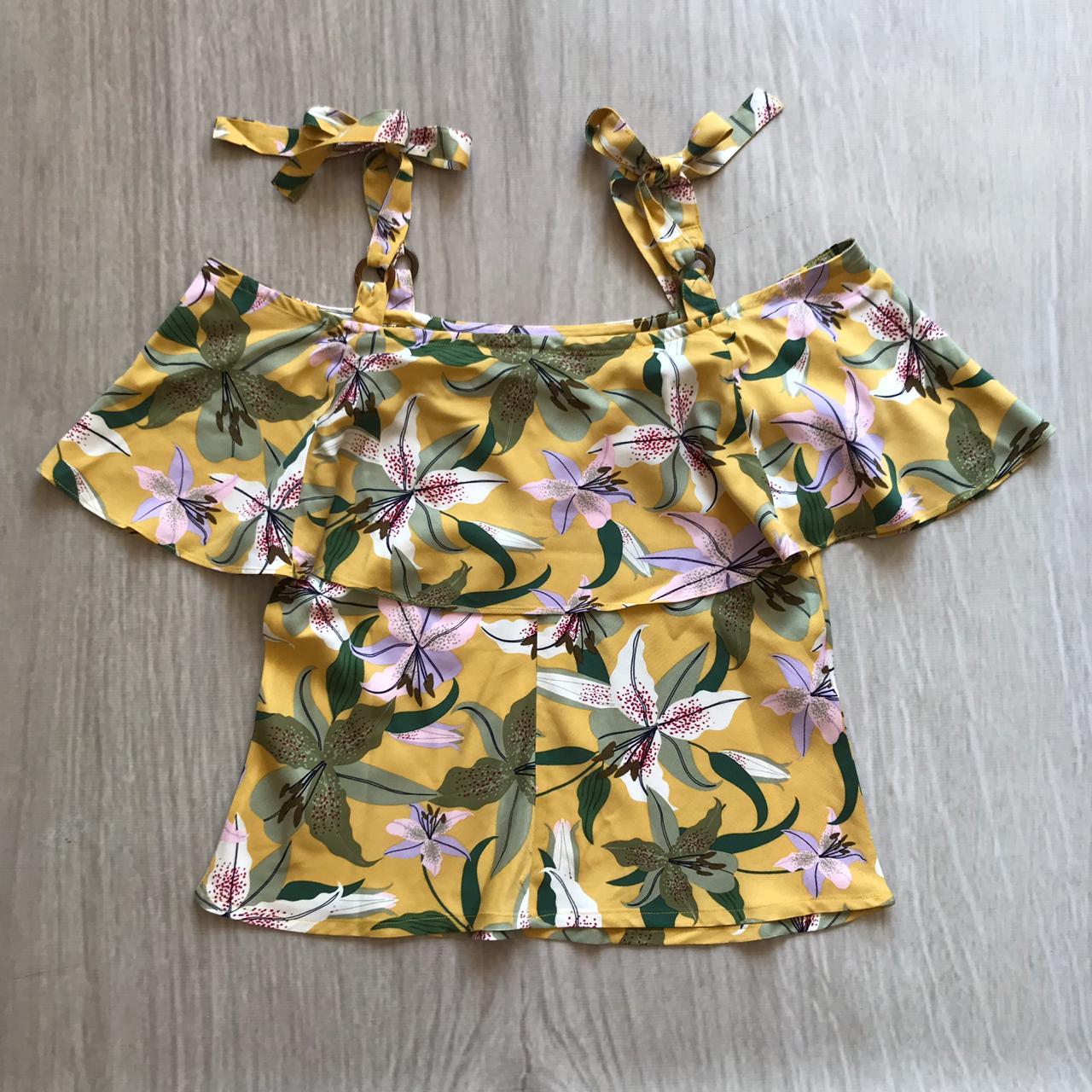 Blusa Viscose Floral Lacinho Ombro