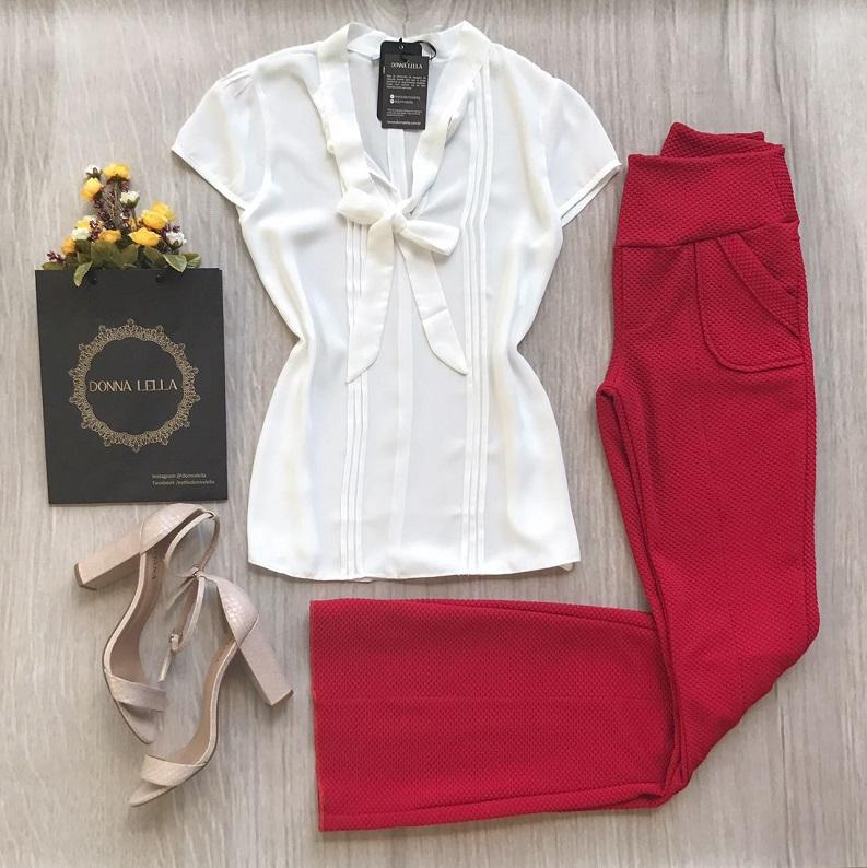 Calça Flare Vermelha