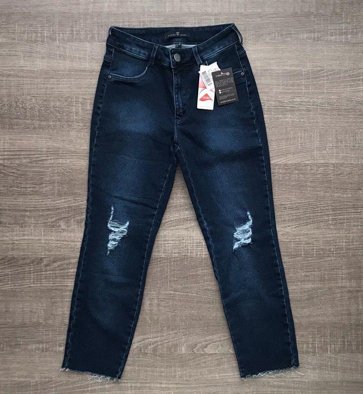 Calça Jeans Cigarrete Rasgada