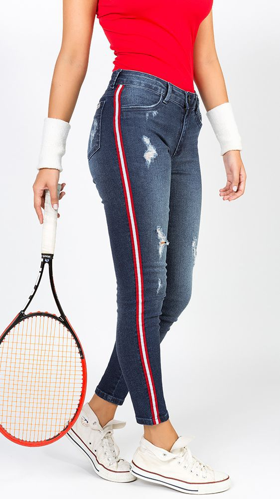Calça Jeans Listra Lateral