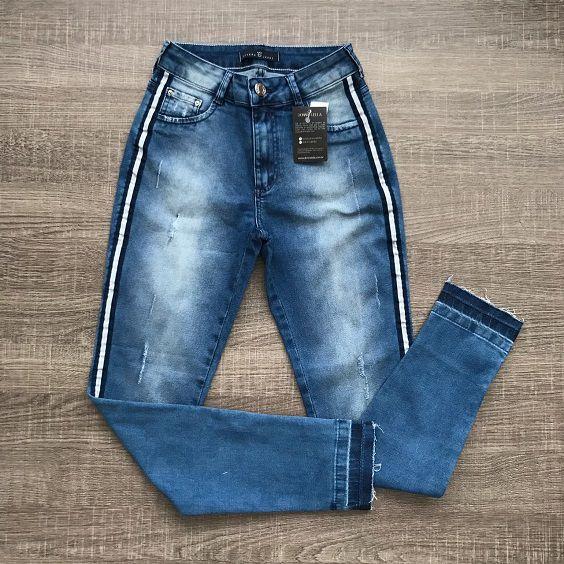 Calça Jeans Skinny Listra Lateral