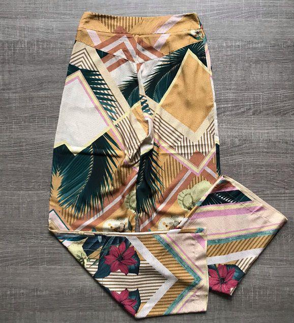 Calça Pantalona Folhagem
