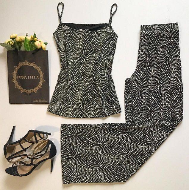 Calça Pantalona Lurex Shine
