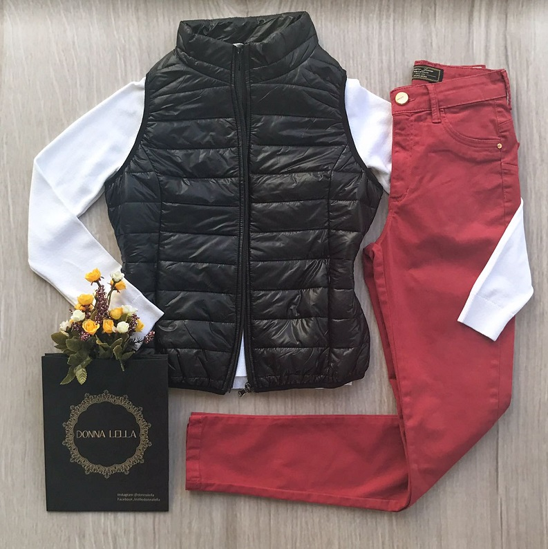 Calça Sarja Skinny Vermelho Queimado