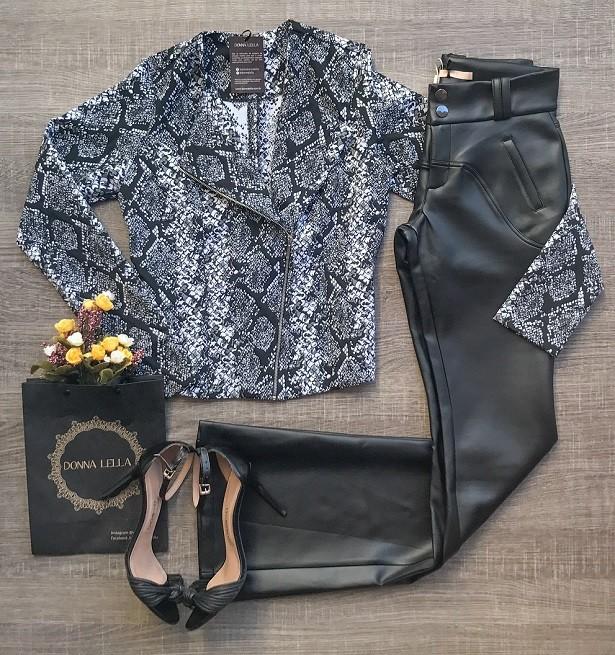 Jaqueta Estampada Preto e Branco