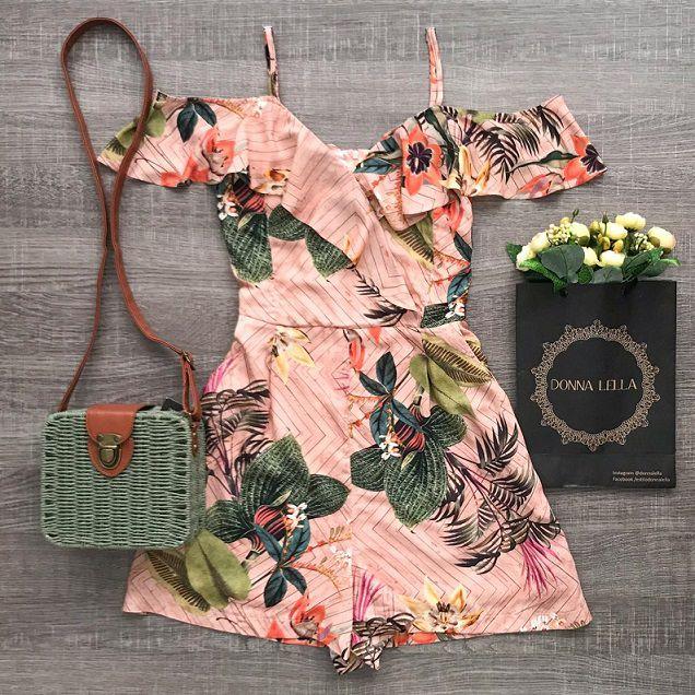 Macaquinho Offshoulder Floral Rosê