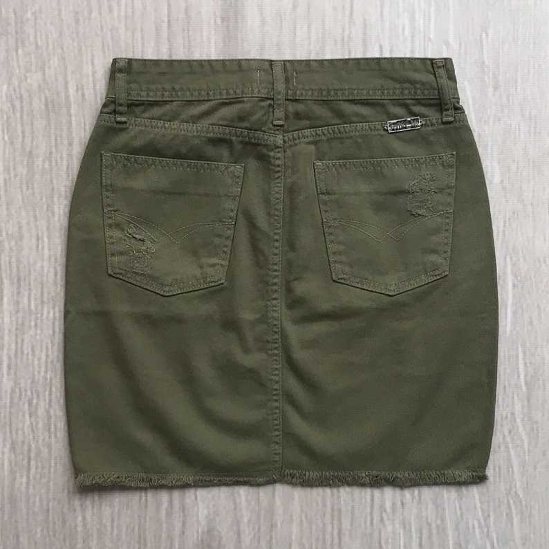 Saia Jeans Verde Militar
