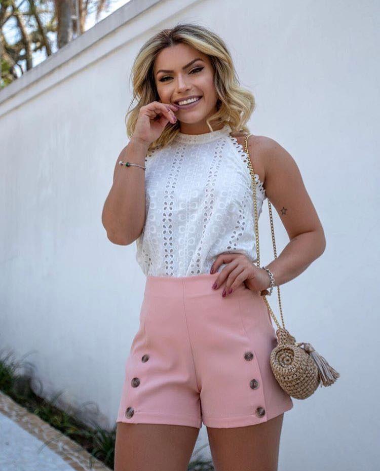 Shorts Botões Rosa