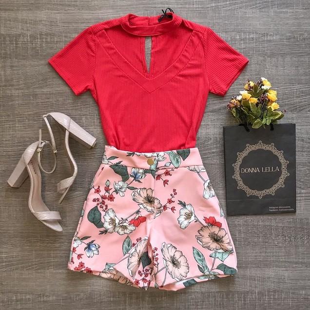 Shorts Floral Bianca Rosa