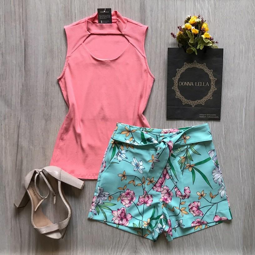 Shorts Havaí Floral Laço