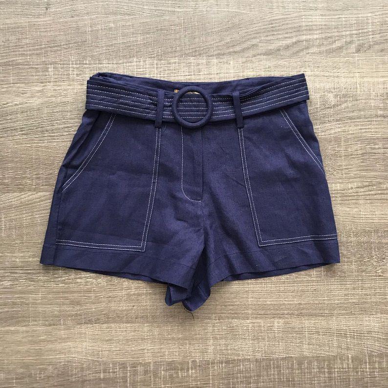 Shorts Linho Marinho