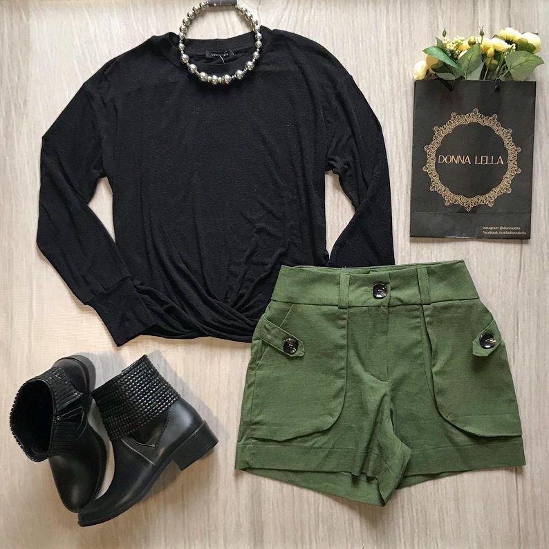 Shorts Linho Verde Militar