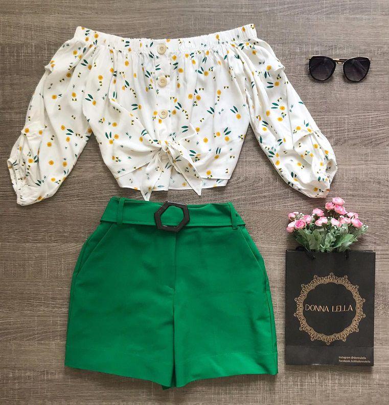Shorts Verde com Cinto