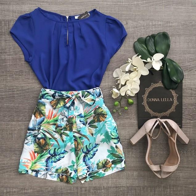 Shorts Viscose Floral Laço