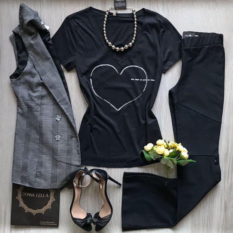 Tshirt Preta Coração