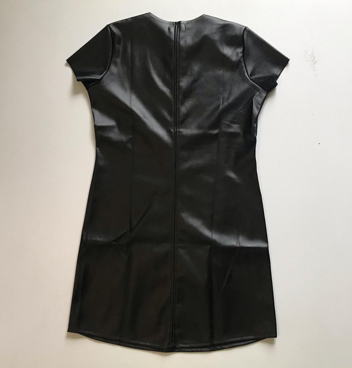 Vestido Couro Eco Preto
