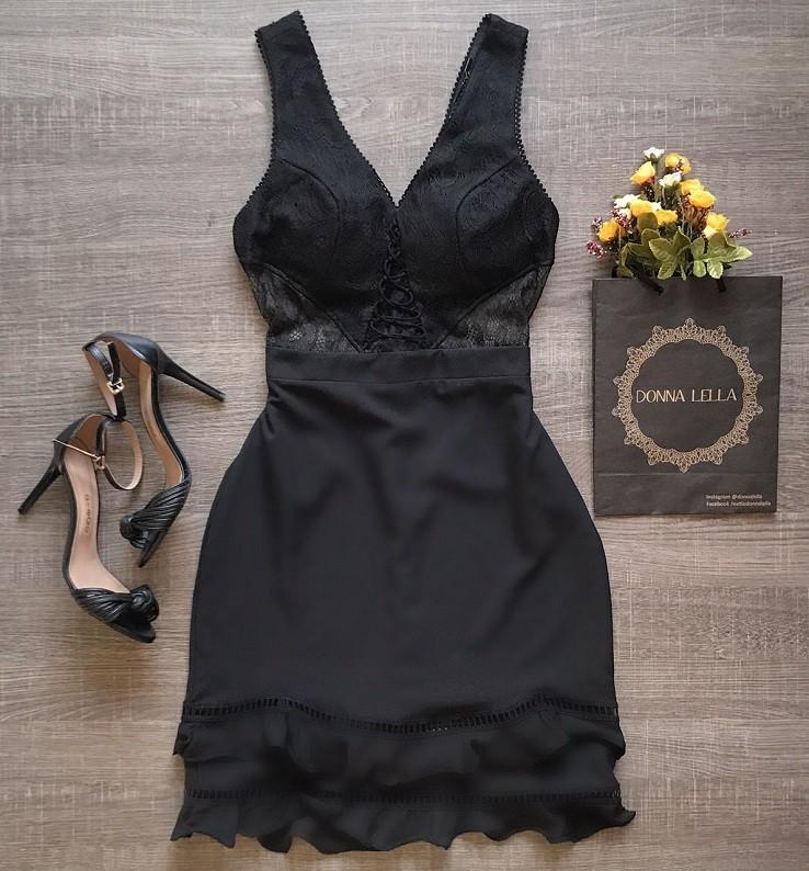 Vestido Crepe com Renda Detalhe Entremeio