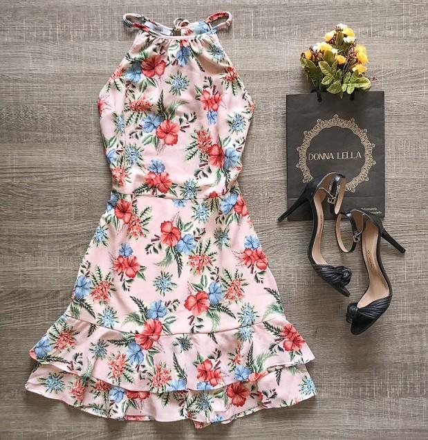 Vestido Crepe Estampa Delicada