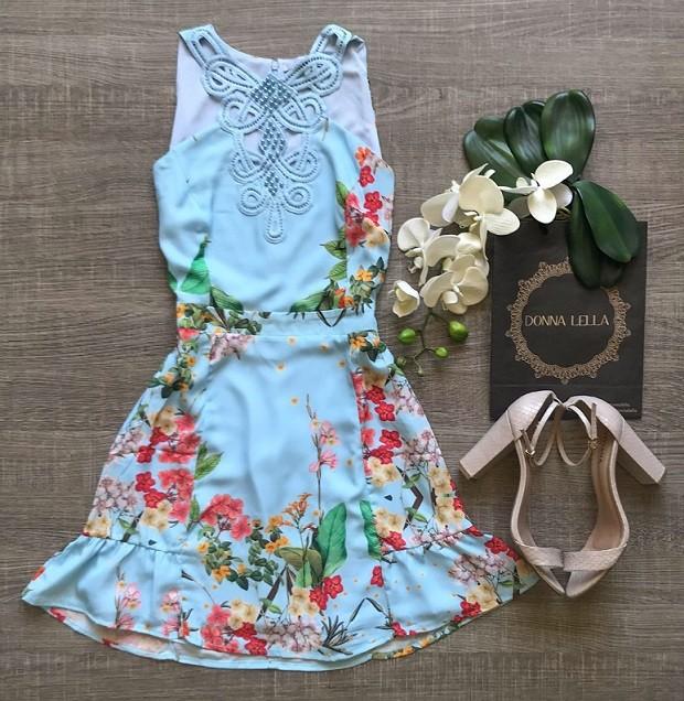 Vestido Crepe Floral Guipir