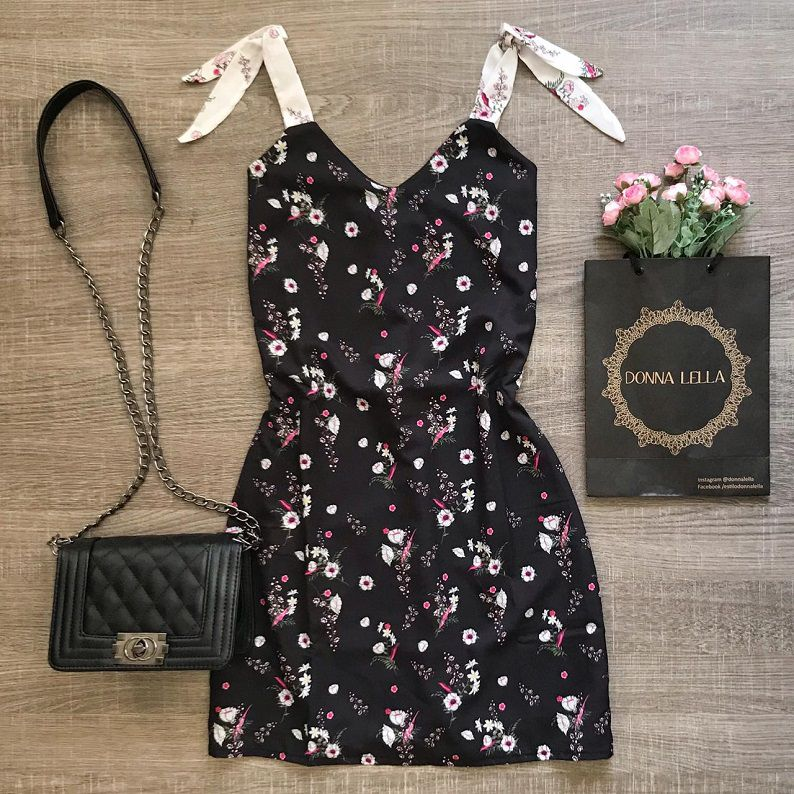 Vestido Crepe Floral Laço