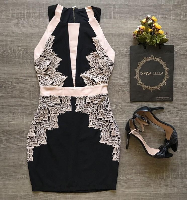 Vestido Crepe Renda Recorte