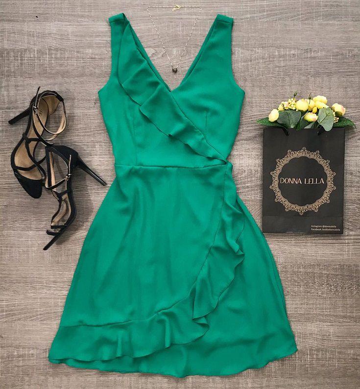 Vestido Crepe Verde Babado