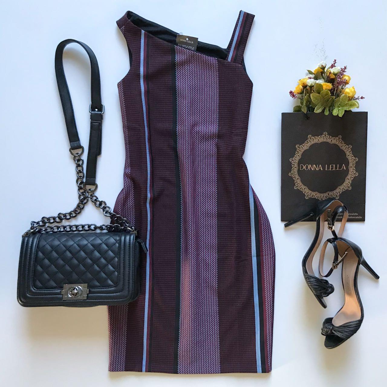 Vestido Jacquard Assimétrico
