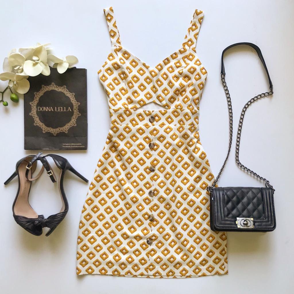 Vestido Linho Estampa Geométrica