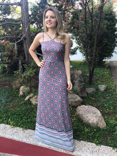 Vestido Longo Floral Barrado