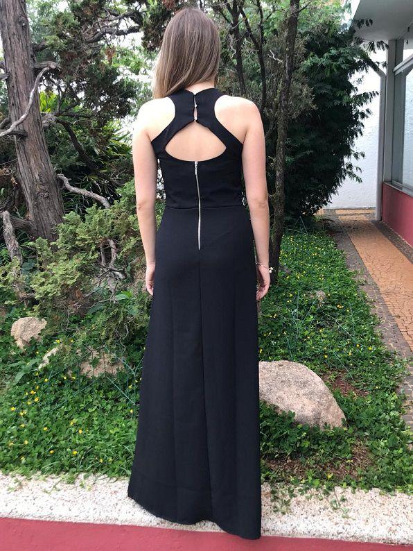Vestido Longo Preto Recortes