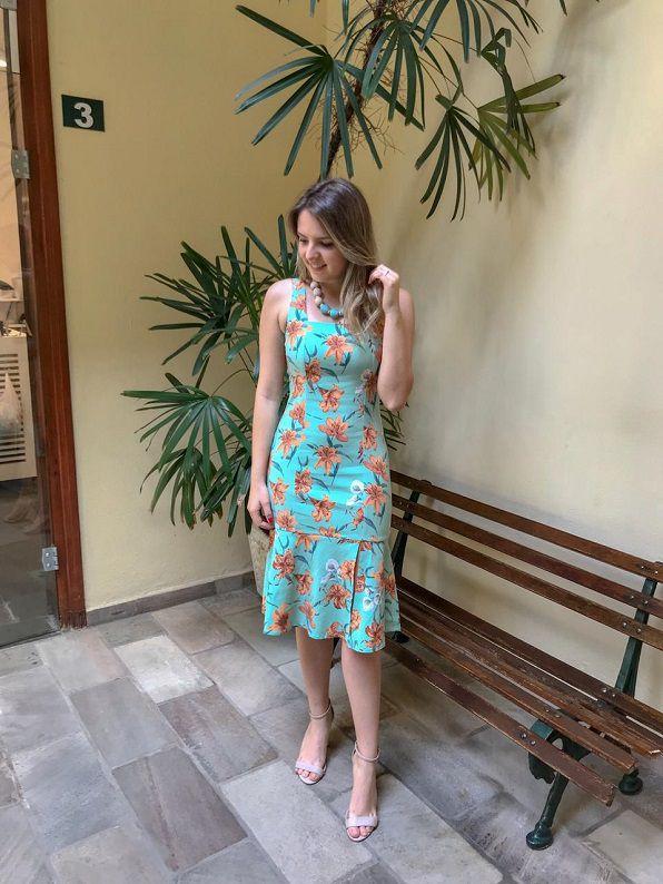 Vestido Midi Linho Floral