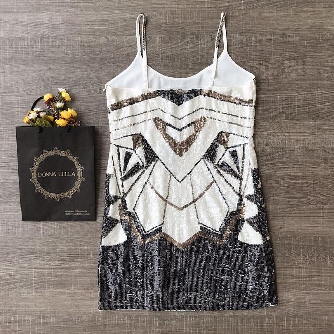 Vestido Paetê Branco e Preto
