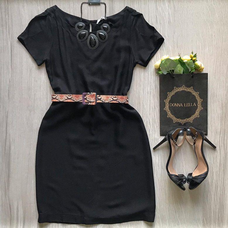Vestido Preto Cinto Animal Print