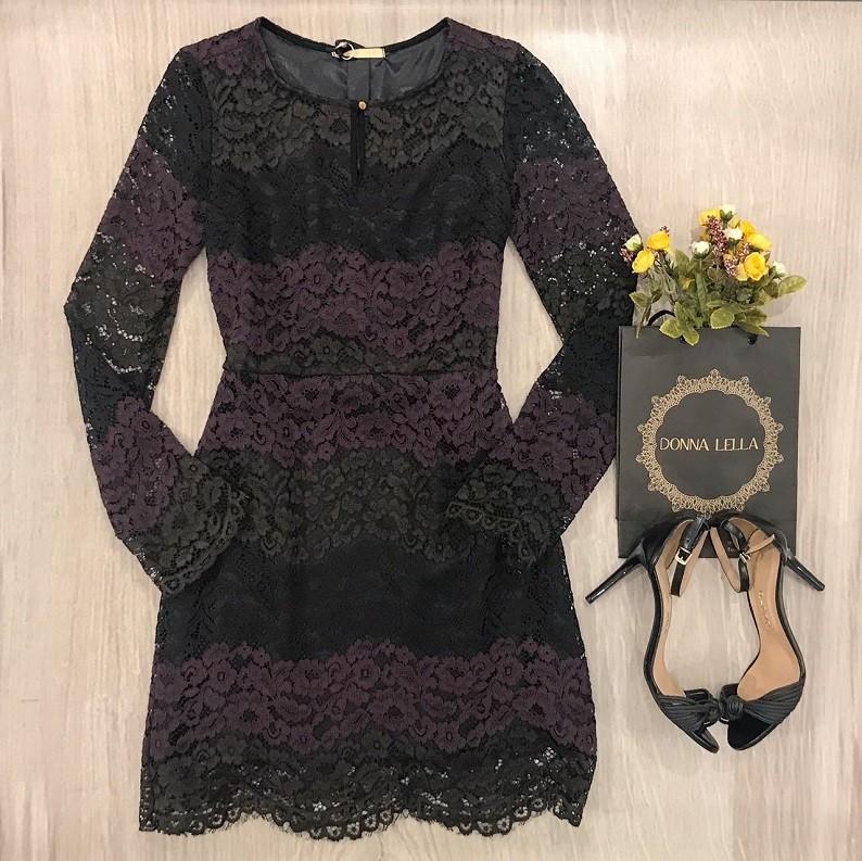 Vestido Renda Bicolor
