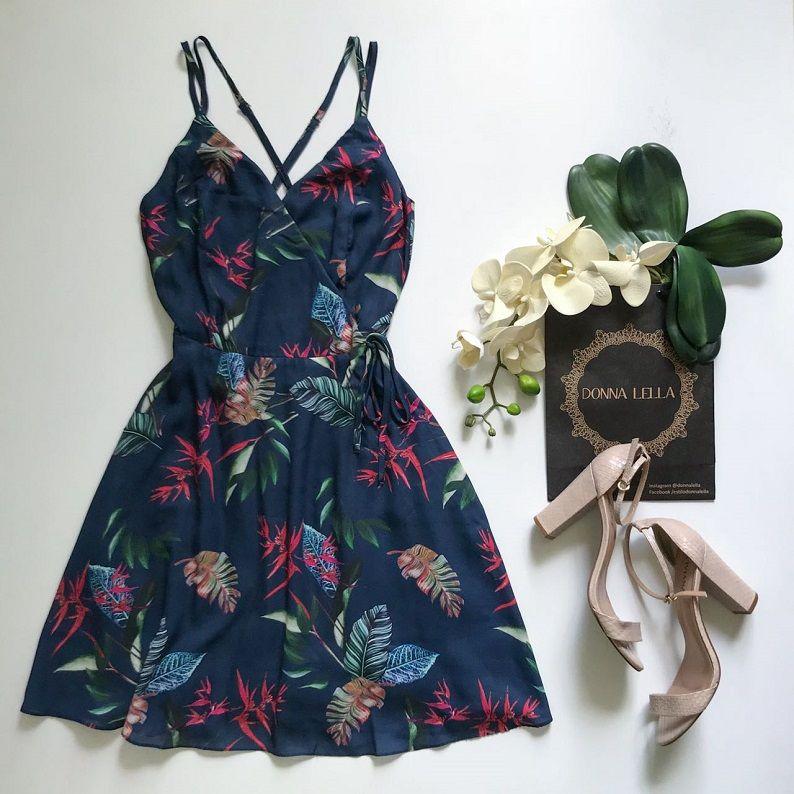 Vestido Transpasse Folhas Marinho