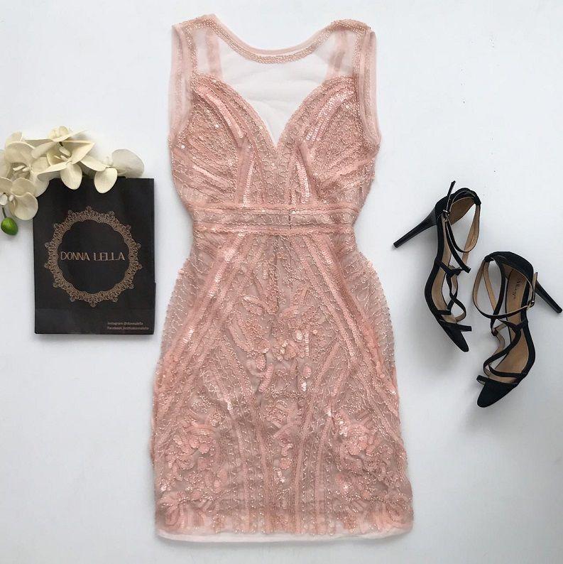 Vestido Tule Bordado Rosa