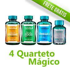 Kit Quarteto Magico Coco Cartamo Omega 3 Magnésio Top Duble