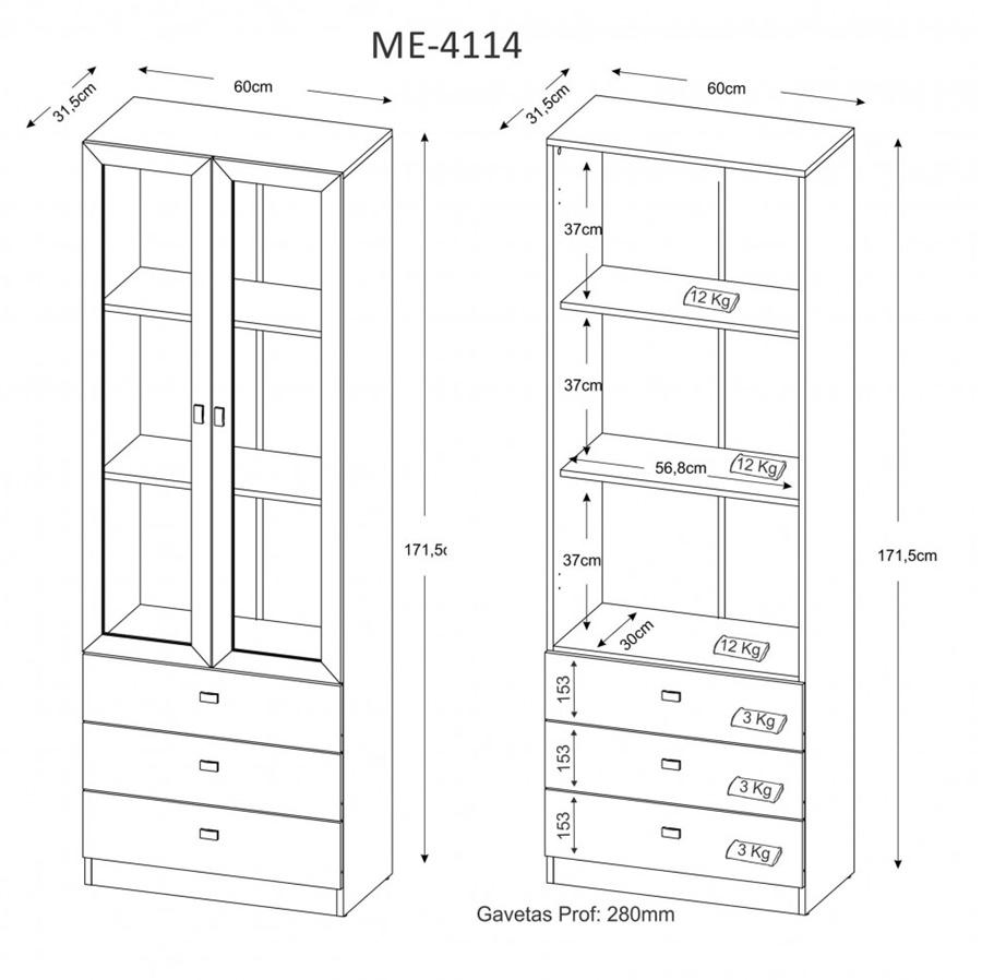 Armário 3 Gavetas e 2 Portas com Vidro Tabaco ME4114 Tecno Mobili