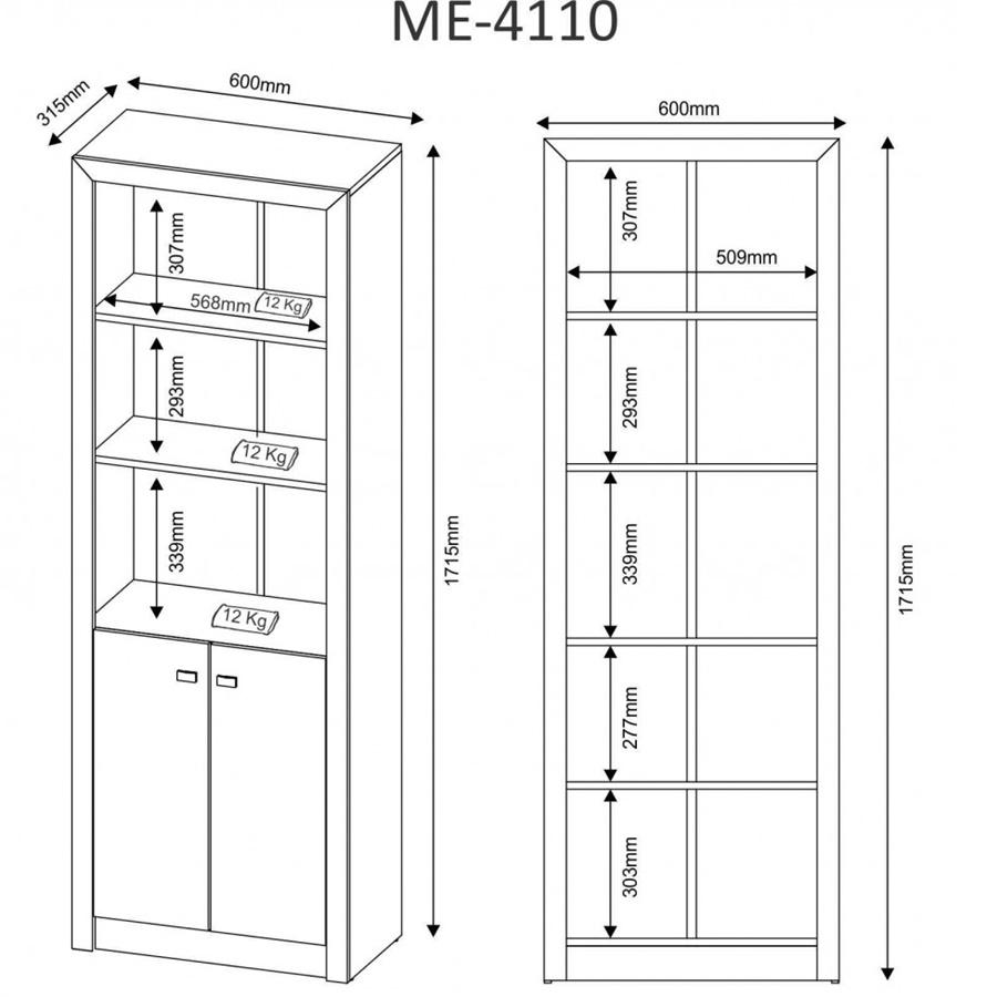 Armário Alto 2 Prateleiras e 2 Portas Amêndoa ME4110 Tecno Mobili